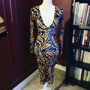 Semi Sheer Midi Cocktail Dress